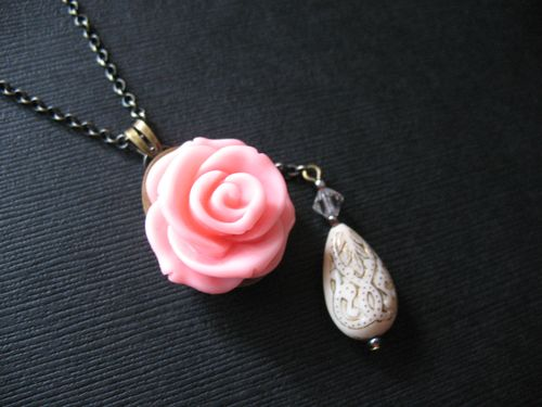 Long Pink Rose Necklace by Pulp Sushi